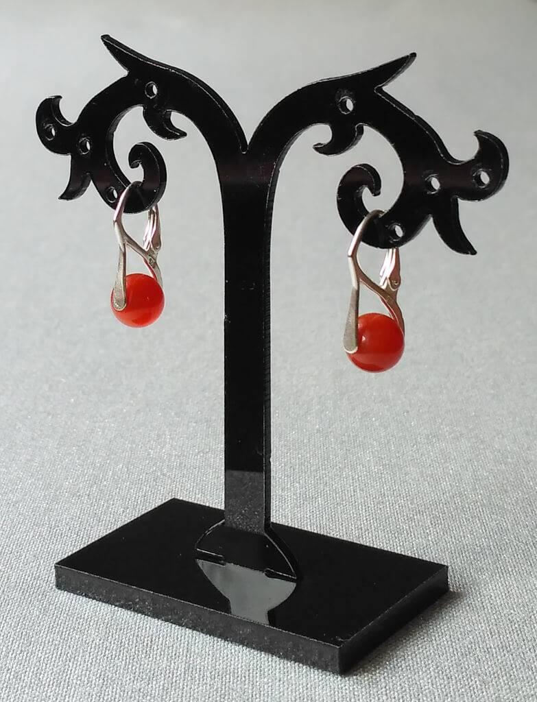 Náušnice karneol, stříbrné * Carnelian earrings, silver