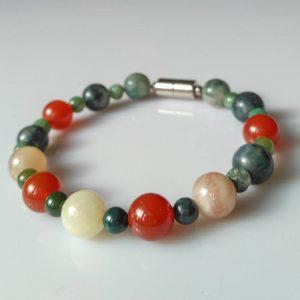 Náramek achát-karneol-měsíční kámen * Bracelet from agate, carnelian, moonstone
