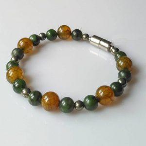 Náramek nefrit-achát-pyrit * Bracelet from nephrite, agate, pyrite