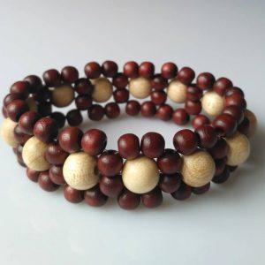 Náramek z dřevěných korálků tmavý * Wooden bead bracelet, dark