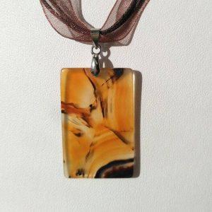 Náhrdelník achátový přívěsek * Agate pendant necklace, brown