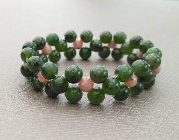 Náramek z nefritu a rodochrozitu * Bracelet from nephrite and rhodochrozite