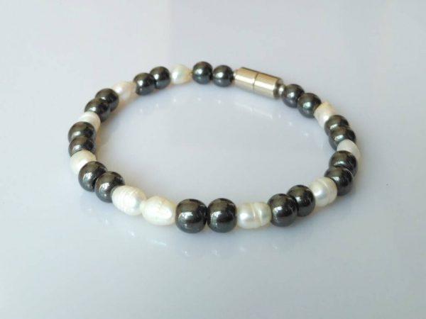 Náramek hematit-perly * Bracelet from hematite andpearls