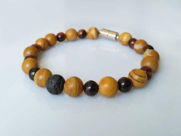 Náramek jaspis, tygří oko, láva * Bracelet from jasper, tiger's eye, lava