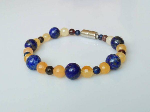 Nárameklapis lazuli-kalcit-granát * Bracelet from lapis lazuli, calcite and garnet