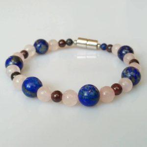 Náramek lapis lazuli-růženín-granát * Bracelet from lapis lazuli, rose quartz and garnet
