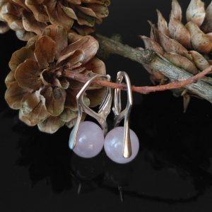 Náušnice růženín, stříbrné * Rose quartz earrings, silver