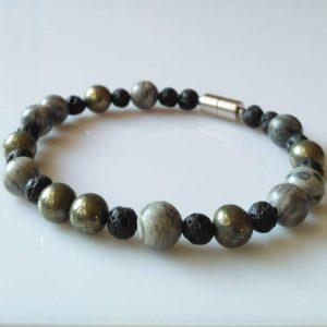 Náramek jaspis-pyrit-láva * Bracelet from jasper, pyrite, lava