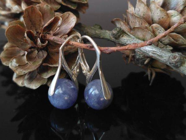 Náušnice tanzanit, stříbrné * Tanzanite earrings, silver