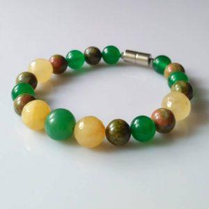 Náramek unakit-aventurín-kalcit * Bracelet from unakite, aventurine, calcite