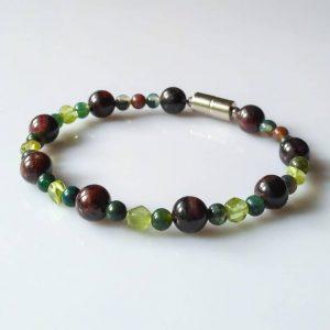 Náramek granát-olivín-jaspis * Bracelet fromgarnet,olivine, jasper