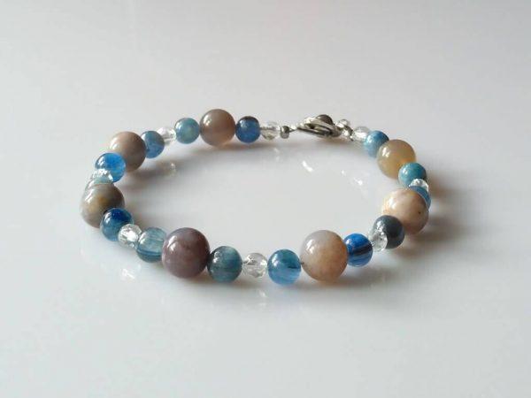 Náramek kyanit-achát-křišťál * Bracelet from kyanite, agate and crystal