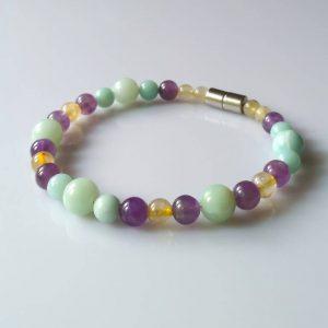 Náramek amazonit-ametyst-sagenit * Bracelet from Amazonite, Amethyst and Sagenite