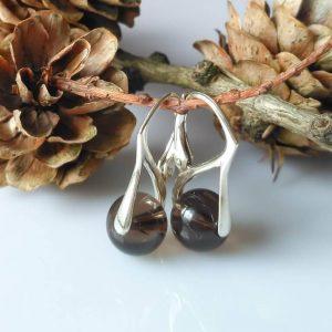Náušnice záhněda, stříbrné * Smoky quartzearrings, silver