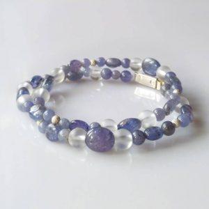 Náramek nebo náhrdelník tanzanit-křišťál-stříbro * Bracelet or necklace from Tanzanite, Quartz Crystal and Silver