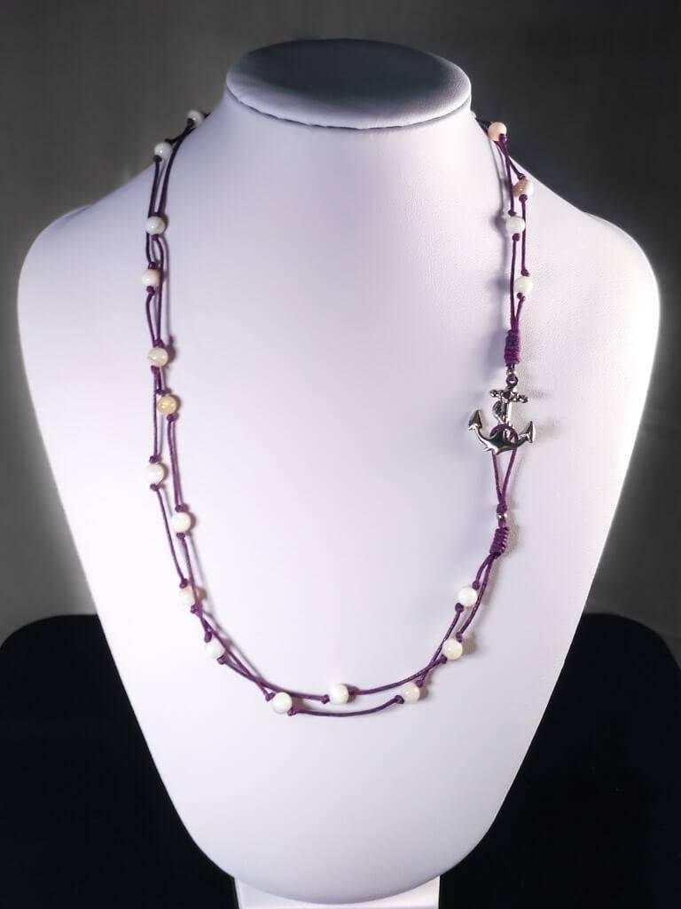 Provázkový náhrdelník nebo náramek s kotvou a perletí * String necklace or bracelet with anchor and nacre