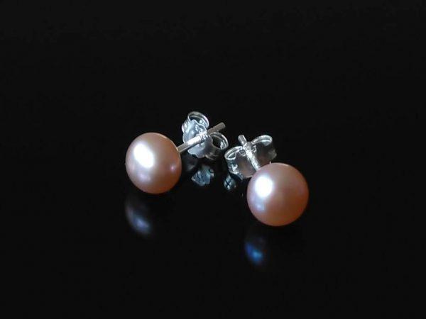 Perlové náušnice růžové, stříbrné * Rose pearl stud earrings, silver