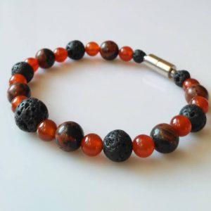 Náramek obsidián-karneol-láva * Bracelet from mahogany obsidian, carnelian, lava