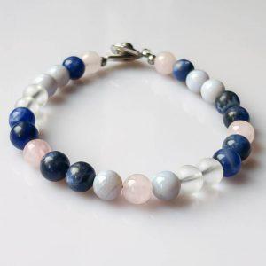 Náramek na přání sodalit, chalcedon, růženín, křišťál * Custom bracelet from Sodalite, Chalcedony,Rose QuartzandQuartz Crystal