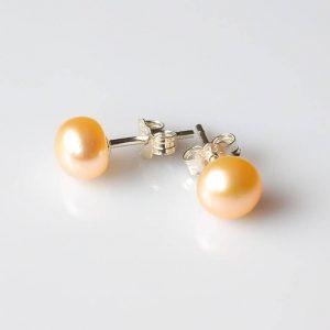 Perlové náušnice lososové, stříbrné * Beige pearl earrings, silver