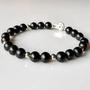 Náramek na přání onyx a chirurgická ocel * Bracelet from onyx and surgical steel