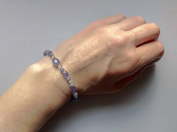 Náramek na přání tanzanit-křišťál-stříbro * Bracelet fromTanzanite, QuartzCrystal and Silver