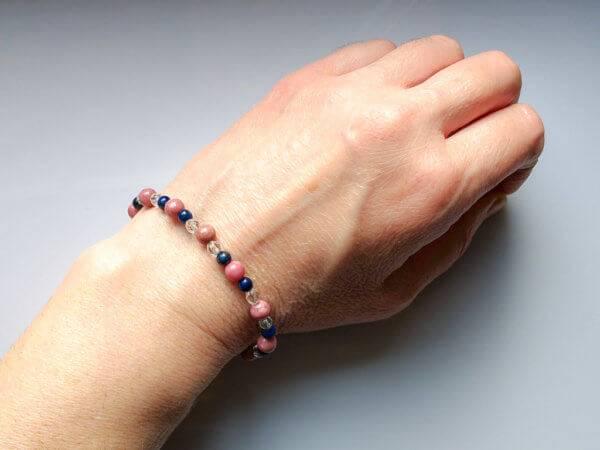 Náramek na přání thulit-lapis lazuli-křišťál * Bracelet from Thulite,Lapis lazuliand Quartz crystal