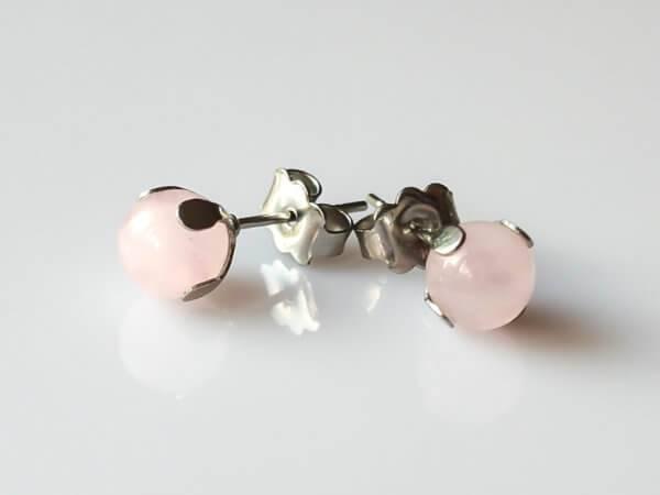 Náušnice růženín puzety * Rose Quartz stud earrings