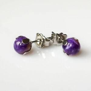 Náušnice čaroit puzety * Charoite stud earrings