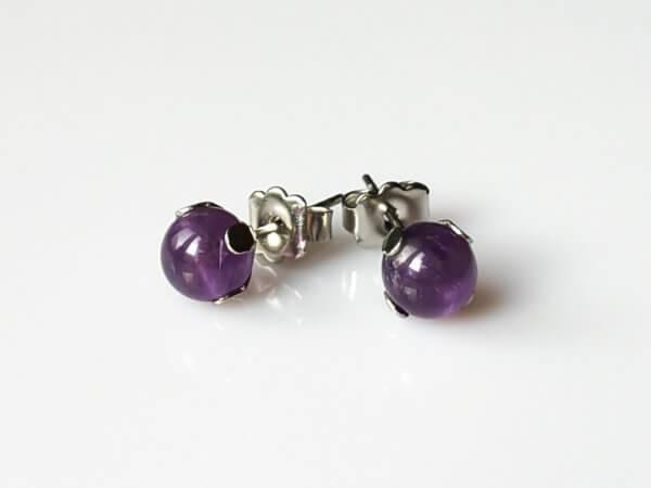 Náušnice ametyst puzety chirurgická ocel * Amethyst stud earrings, surgical steel posts