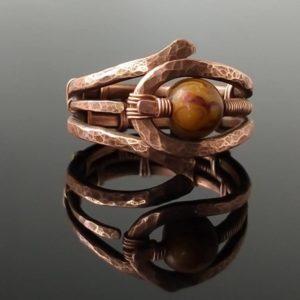Měděný prsten s achátovým korálkem * Agate bead copper ring