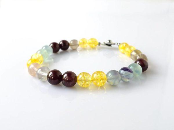 Náramek na přání citrín-fluorit-granát-záhněda * Custom bracelet fromCitrine, Fluorite, Garnet and Smoky Quartz