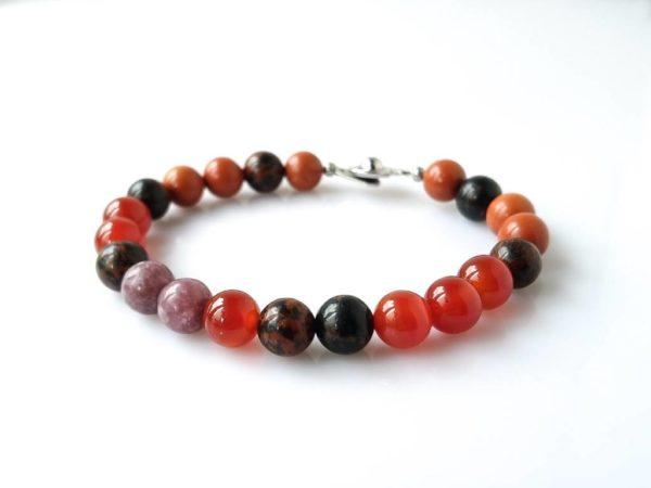 Náramek na přání obsidián-jaspis-karneol-turmalín * Custom bracelet fromObsidian, Jasper, Carnelian and Tourmaline