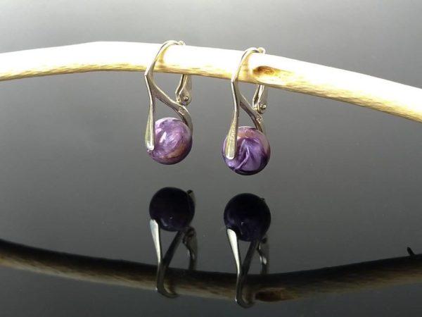 Náušnice čaroit, stříbrné * Charoite earrings, silver