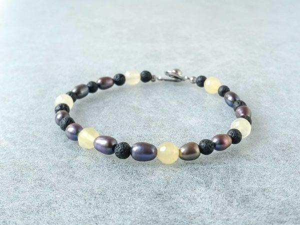 Náramek perly-kalcit-láva * Bracelet from pearls, calcite and lava
