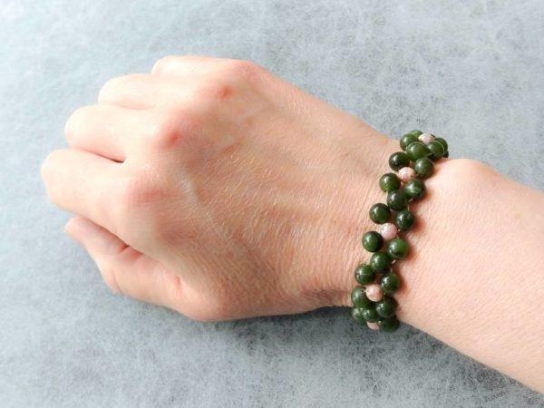 Náramek nefrit a rodochrozit * Bracelet from nephrite and rhodochrozite