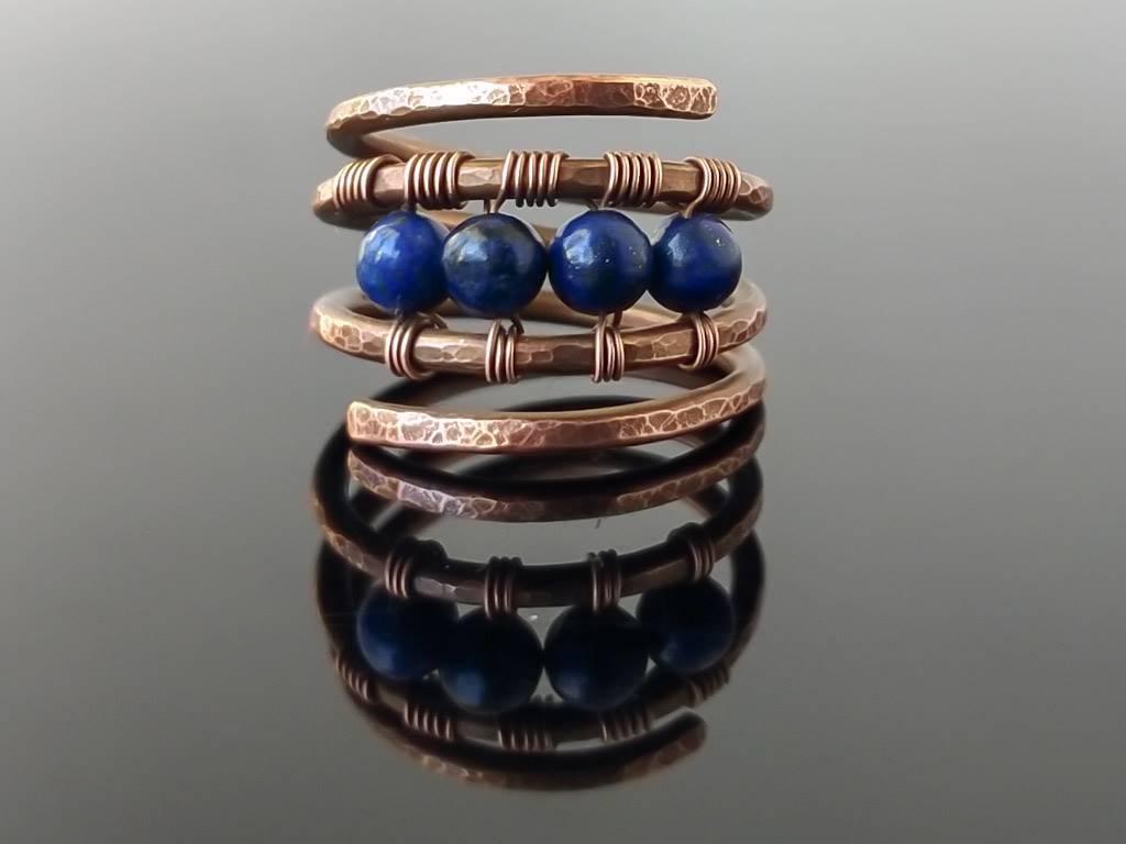 Prsten měděný s lapisem lazuli * Copper ring with Lapis Lazuli