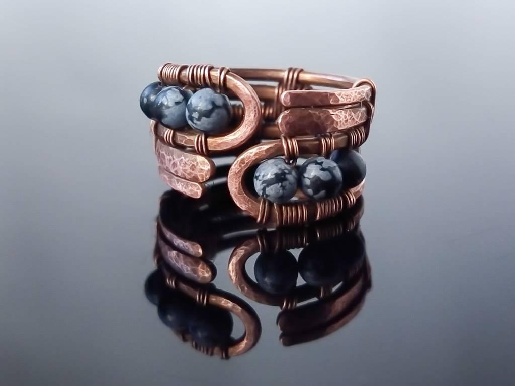Prsten měděný s obsidiánem vločkovým * Snowflake Obsidian Copper ring