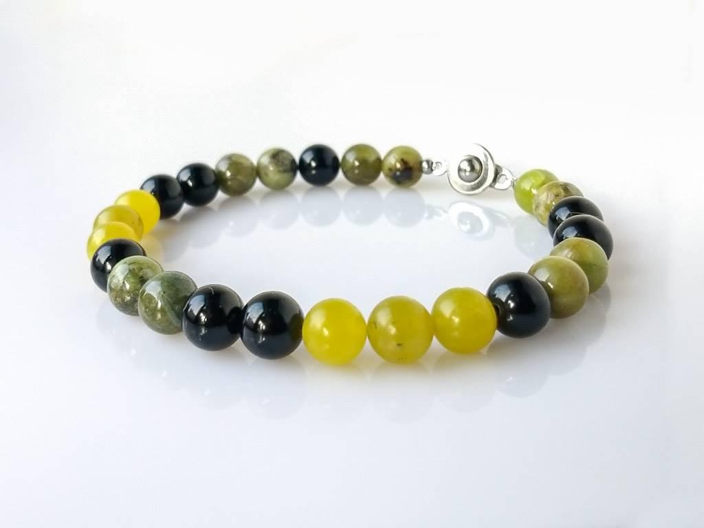 Náramekna přání křemen zelený-onyx-peridot * Custom bracelet from Green Quartz, Onyx and Peridot