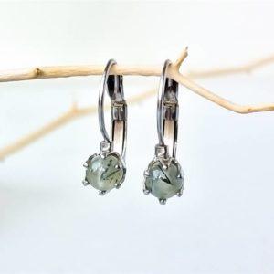 Náušnice s prehnitem * Prehnite surgical steel earrings