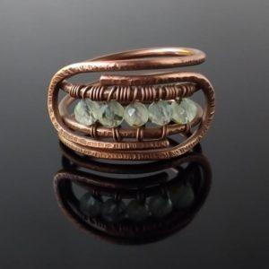 Prsten měděný s prehnitem * Prehnite Copper ring