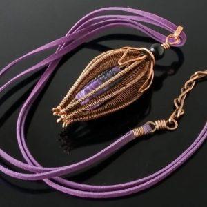 Měděný náhrdelník čaroit a černý turmalín* Copper necklace with Charoite and Black Tourmaline