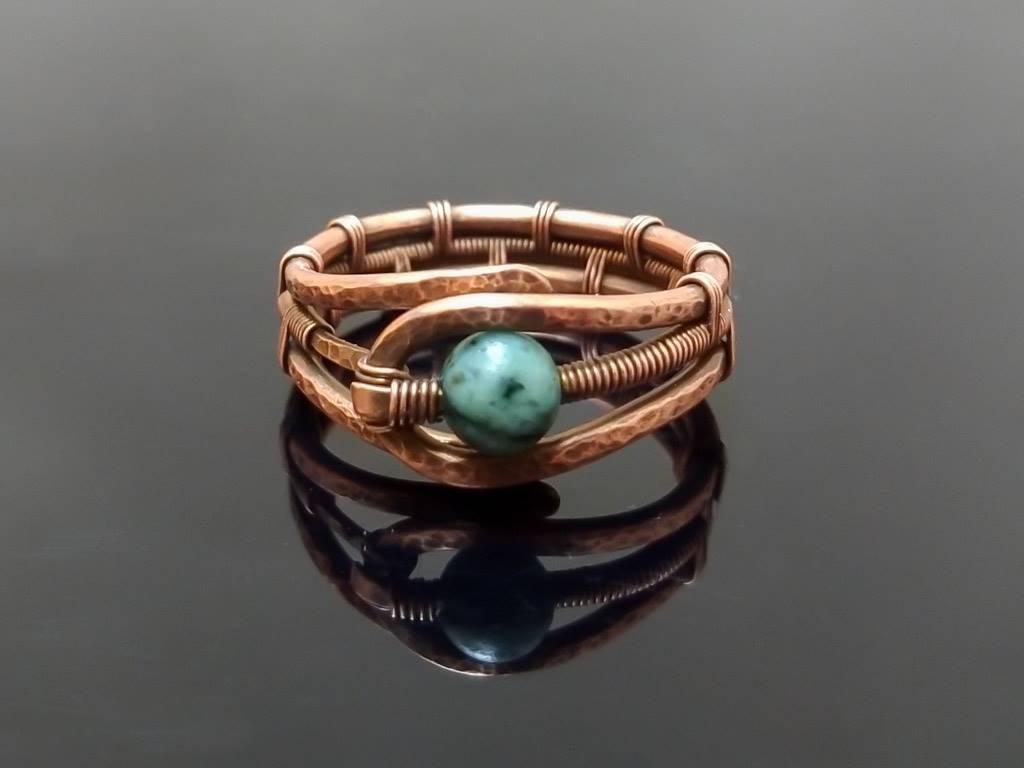 Měděný prsten s tyrkysem africkým * Copper ring with African Turquoise bead