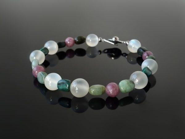 Náramek měsíční kámen-smaragd-turmalín-chryzokol * Bracelet from Moonstone, Emerald, Tourmaline and Chrysocolla