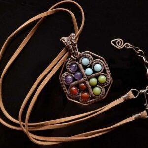 Měděný náhrdelník ametyst, amazonit, karneol, jadeit * Copper necklace with Amethyst, Amazonite, Carnelian and Jade